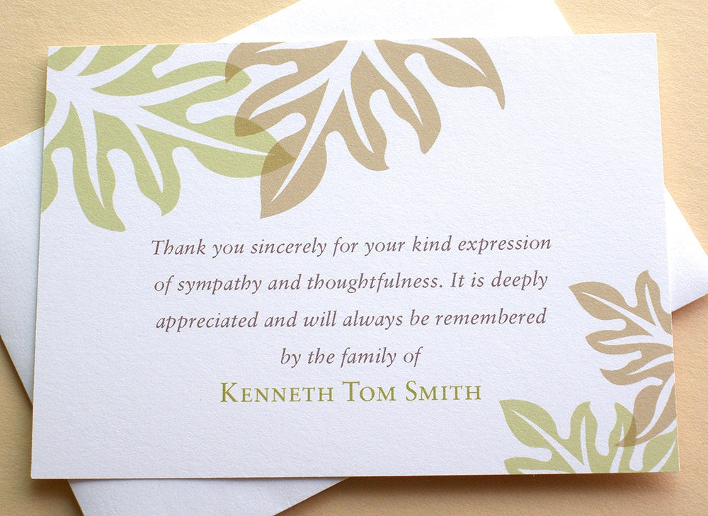 sympathy thank you cards brown and green leaves