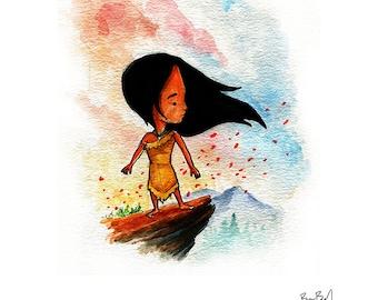 Pocahontas Inspired Watercolor Print