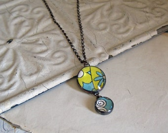 Wallpaper Pendant, Stained Glass Jewelry, Reuse Paper Necklace