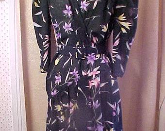 Vintage 1970s Black Print Sheer Dress 100 Poly, Size 12  #3394