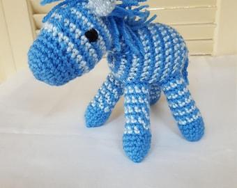 Crochet Blue Zebra Stuffed Animal / Crochet Doll / Amigurumi Toy/ Handmade Toys/ Gift For Kids/ Plush Animal/ Baby Shower Gift
