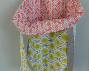 Pink and Green Everything Tote, Reversible! Tote Bag, Shoulder Bag, Purse, Library, Market, Farmers Market, Shopping, Gifts under 20