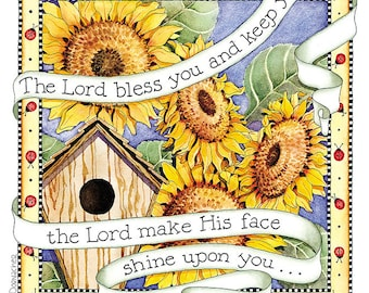Lord Bless You - Numbers 6 - Sunflower Birdhouse Digital Art Print 6x6 Christian Printable Ready to Frame Cardmaking Crafts INSTANT DOWNLOAD