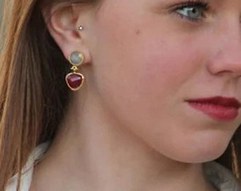 Ruby Oval Dangle Earrings