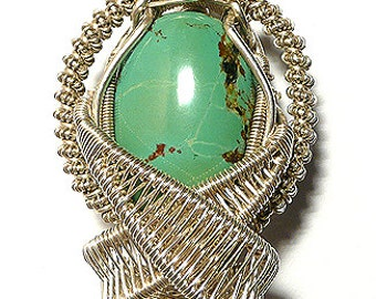 Tibetan Turquoise heady wire wrap pendant ,  Up/Down  Turqiouse pendant