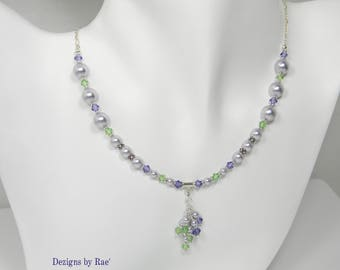 Lavender Pearl Sterling Silver Necklace, Tanzanite & Peridot Crystals, Gift for her