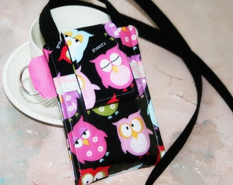id Badge Cell Phone Sleeve|FIT ANY BRAND Phone| Case with id Badge|id Purse, iphone 5 accessories, samsung galaxy 3 - in Hoot Owl