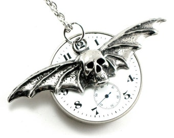 SALE Was 95.00 - Steampunk Necklace - Hellsing - REVERSIBLE Pocket Watch Pendant with Winged Vampire Bat and Skull Stamping - AWESOME