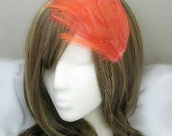 Coral Orange feather fascinator blank Base (5 fastener option) Derby feather cap,fascinator for mardi gras, kentucky derby, or tea party