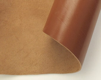 brown cow leather piece 9.4x7in - light brown genuine real leather scrap - italian quality cow leather (D-10a)