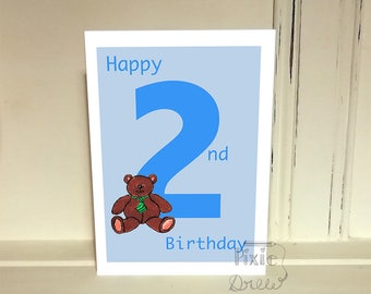 Boys 2nd birthday card, greetings card, Second Happy Birthday card, Rocking horse card, Boys second birthday, 2nd boys birthday card.
