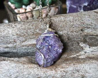 Crystal Druzy Jewelry, Boho Gypsy Necklace, Gypsy Druzy Necklace, Hippie Bohemian Jewelry, Gypsy Boho Jewelry, PURPLE Druzy Stone Necklace