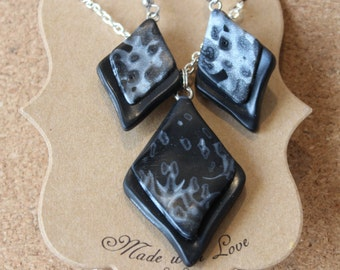 Black & Silver Polymer Clay Necklace and Earring Set