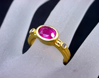 VIVID Red/pink Tourmaline diamond ring   8x6mm  1.09 Carats   Natural Untreated 14K White or yellow gold ring 0667