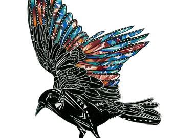 Crow Spirit in Flight Print