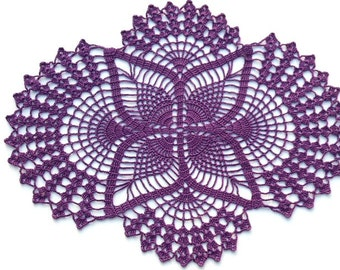 Crochet doily, oval doilies , lace , home decor , table decoration , handmade , violet , purple