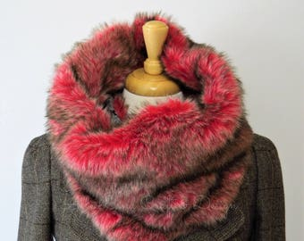 Faux Fur Cowl Scarf, Red Fur, Poncho Lining, SPRING SALE 50% OFF