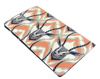 Checkbook Cover Wallet - Slim, Two Pocket Design Holds Cash And Checkbook - Cute Gazelle Fabric - Women's Stocking Stuffer