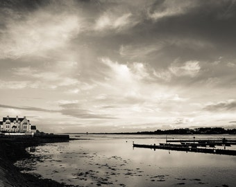 Irish Seascape Print - Strangford Lough Black and White Photograph - Cloudy Portaferry Skies - Moody Northern Ireland - The Saltpans