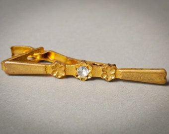 Vintage gold plated tie bar clip with glass rhinestone
