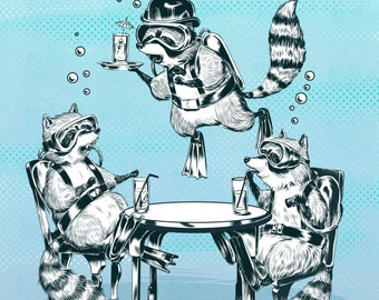 Underwater Raccoon Gin Party Print