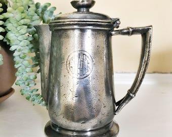 Vintage 1954 Silver Plate Teapot from Grace Line Ocean Liner