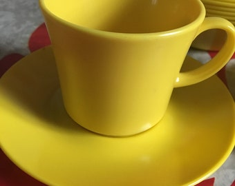 Vintage Bright Yellow Texas Ware Plastic Melmac Melamine Dishes including Cups, Saucers and Berry Bowls