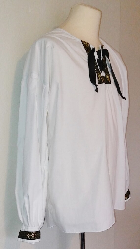 CLEARANCE: XXL Adventurer's Tunic with Trim in White Cotton iBAxusS