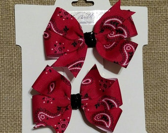 Red Bandana Pigtail Bows, Pigtail Bow Set, Cowgirl Bows, Red Bows, Country Bows, Pigtail Bows, Hair Bows For Girls