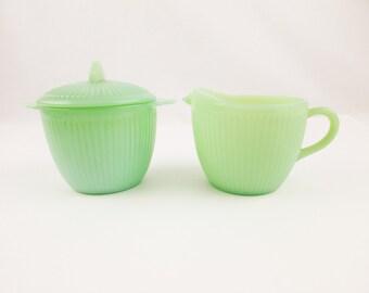 Beautiful 'Jane Ray' Creamer With Lidded Sugar Bowl - Jadeite Green - Fire-King - Sugar Bowl With Flat Handles and Flat Knob - Sugar Bowl