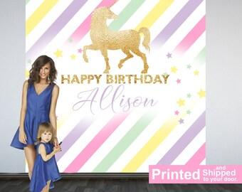 Sparkle Unicorn Personalized Photo Backdrop - Birthday Photo Backdrop- First Birthday Photo Backdrop - Printed Photo Booth Backdrop