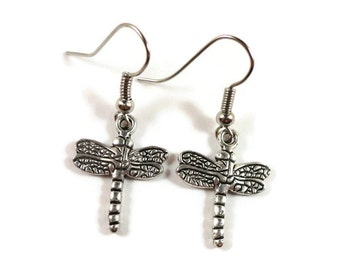 Silver Dragonfly Earrings, Dragonfly Charm Earrings, Insect Earrings, Insect Jewelry, Dragonfly Jewelry, Women's Jewelry, Affordable Jewelry