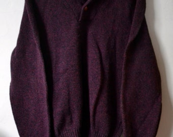 Vintage GREAT PLAINS Heathered Purple Plum Shawl Collar Pullover Size L Large Made in USA