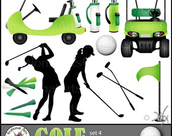 GOLF set 4 GREEN INSTANT DOWNLOaD digital clipart graphics 11 png files including 2 Golf carts silhouettes club ball tees flag bag