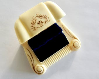Mid Century Double Celluloid Ring Box