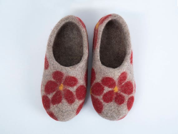 slippers slippers Felted junior clogs wool slippers slippers natural Wool slippers felt slippers felted felt girl felt red clogs pAygqOP