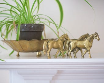 Vintage Brass Horses Set of 3