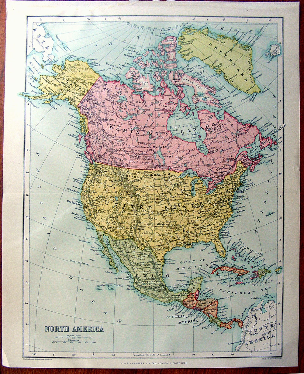 zoom Large Map of NORTH AMERICA 1922