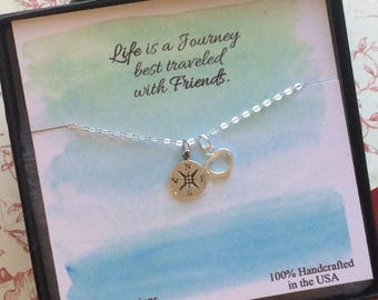 Friendship necklace, college graduation, compass necklace, best friends, heart, friendship necklace, minimal, graduation gift