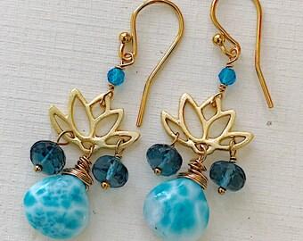 Lotus Gemstone Petite Earrings