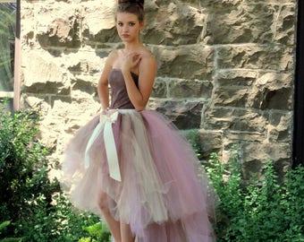 Adult tutu high low tutu skirt wedding bridal tutu prom tutu skirt senior portraits trending now tutu with train rustic wedding fashion tutu