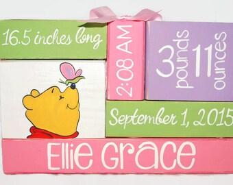 Winnie The Pooh Nursery Baby Birth Stat WoodenBlock Shelf Sitter Stack