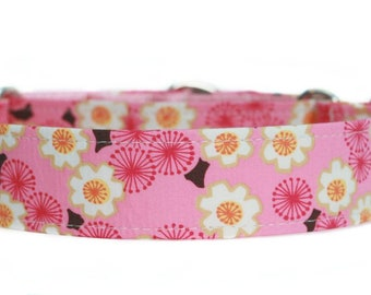Cherry Blossoms Dog Collar / Custom Dog Collar / Martingale Dog Collar
