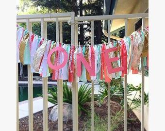 Rag Tie Banner Garland - Fabric Banner - 1st Birthday Banners - Rag Garland - Rag Banner - Rag Tie Banners - Coral Mint & White Theme -Decor