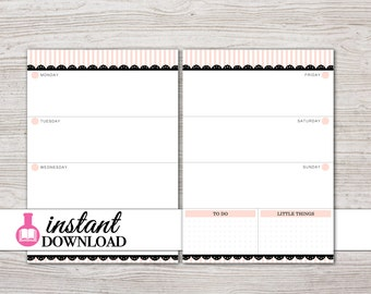 A5 Planner Printable - Weekly Inserts - Filofax A5 - Kikki K Large - LV GM - Design: Mademoiselle