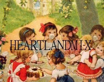 Tea Party Vintage Digital Art Graphic Downloadable Image