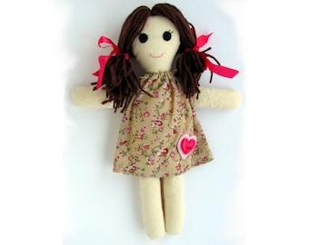 Rag Doll Pattern, - Soft Doll pattern PDF, Softie, Cloth Doll Ragdoll, Digital Download, easy doll pattern