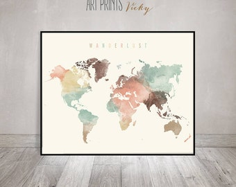 Wanderlust, World map print, World map poster, World map art, World map wall art, watercolor travel Map, Large world map, ArtPrintsVicky