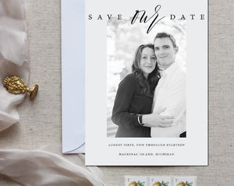 Calligraphy Photo Save the Date - Save Our Date (set of 25)