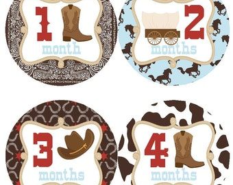 Baby Monthly Milestone Growth Stickers in Cowboys Western Red Brown Blue MS525 Baby Boy Shower Gift Baby Photo Prop